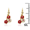 FLOWERY GLITZ Crystal 3 Flowers Dangle Earrings