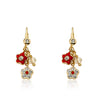 FLOWERY GLITZ Crystal 2 Flowers Dangle Earrings