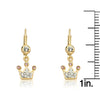 Pretty Princess Crystal Crown Dangle Earrings