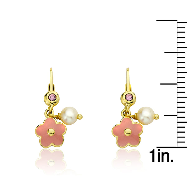 FROSTED FLOWERS Pink Flower With Pearl Leverback Earring