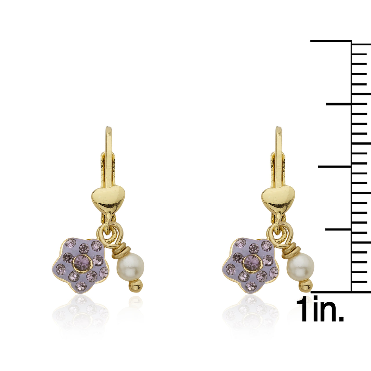 FLOWERY GLITZ Leverback Earring With Crystal Flower & Pearl Dangle