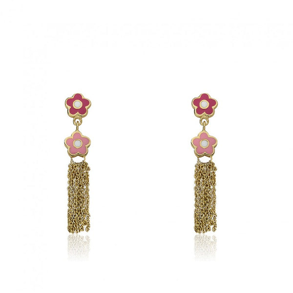 FROSTED FLOWERS Pink Tassel Earring