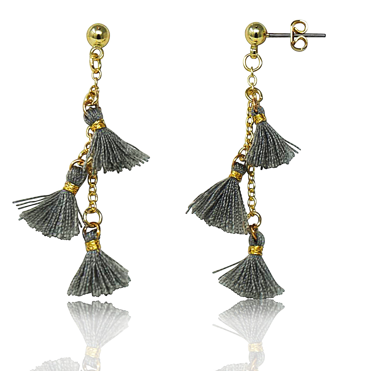 Mileez Triple Tassel Dangle Earring