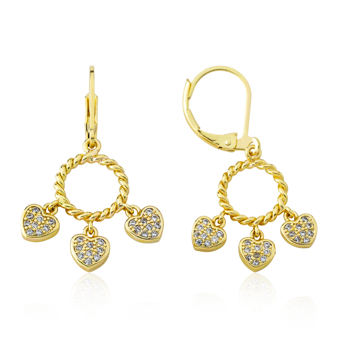 CZ Heart Dangle Leverback Earring