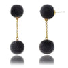 Mileez Double Pom Pom Dangle Earring