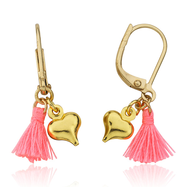 Mileez Mini Tassel & Heart Dangle Leverback Earring