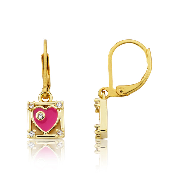 14K Gold Plated Hot Pink Enamel Heart In Cz Cornered Square Dangle Leverback Earring
