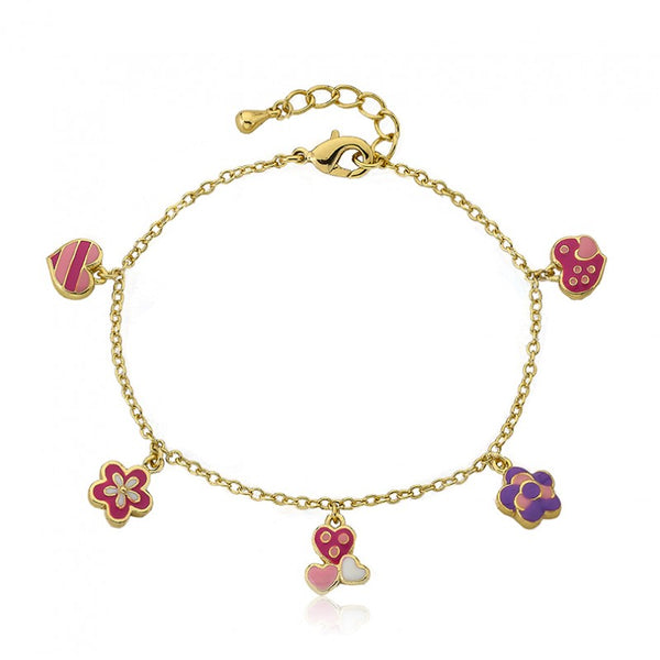 FROSTED FLOWERS Hearts and Flowers Charm Bracelet