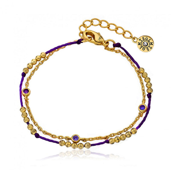 FRIENDS FOREVER Purple Stones Strand Bracelet