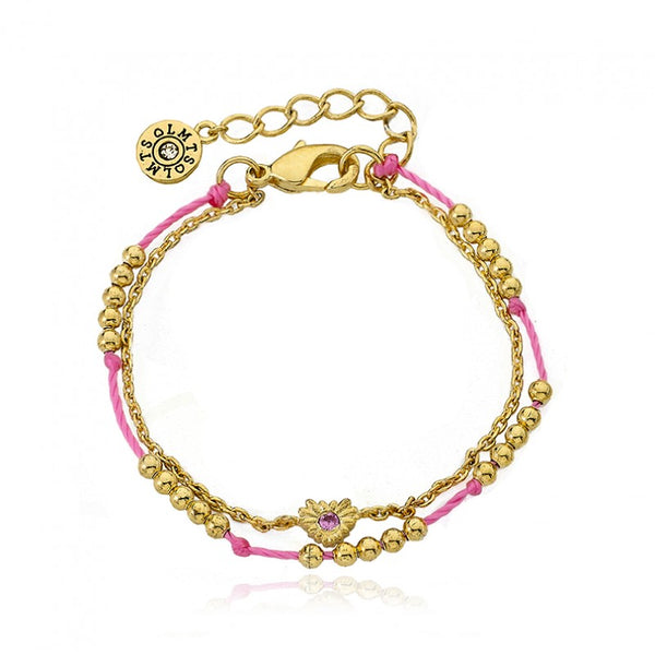 FRIENDS FOREVER Hot Pink Beads & Heart Strand Bracelets