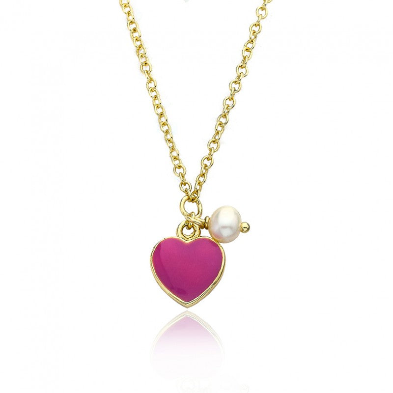 I LOVE MY JEWELS Hot Pink Heart Necklace