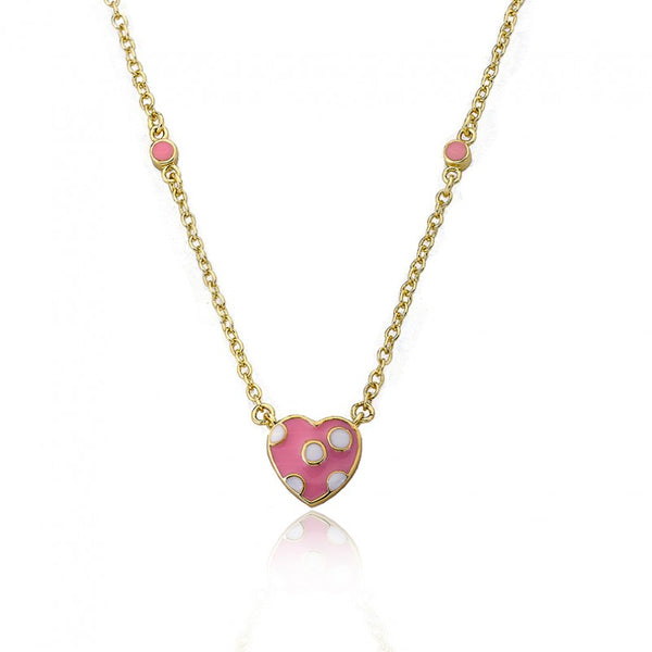 I LOVE MY JEWELS Pink Polka Dot Heart Necklace