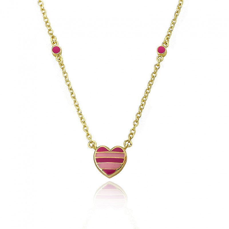 I LOVE MY JEWELS Pink Striped Heart Necklace