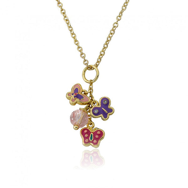 CHARMING TREATS Multi Enamel Butterflies& Crystal Charm Necklace