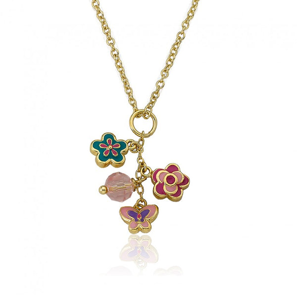 CHARMING TREATS Multi Enamel Flowers & Butterfly Charm Necklace