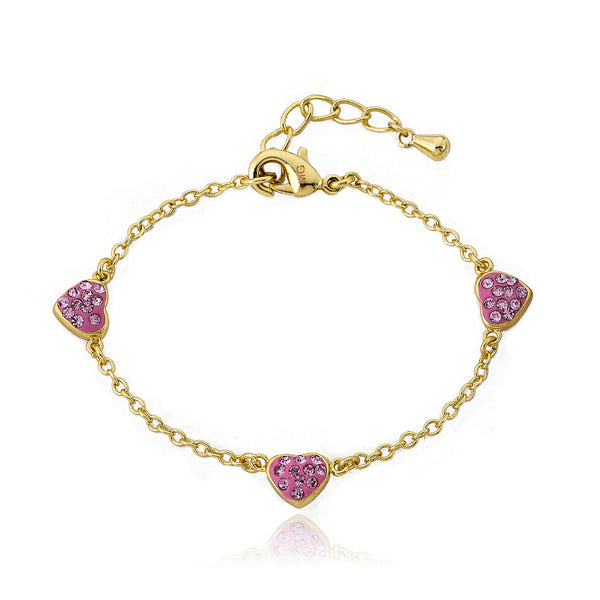 Heart Of Jewels 3 Crystal Heart Chain Bracelet (Pink)