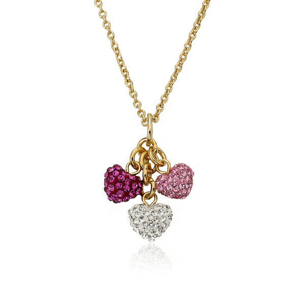 Heart Of Jewels 3 Crystal Hearts Key Chain Necklace