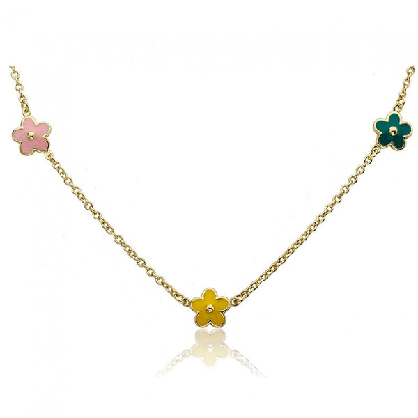 FROSTED FLOWERS Triple Flower Necklace