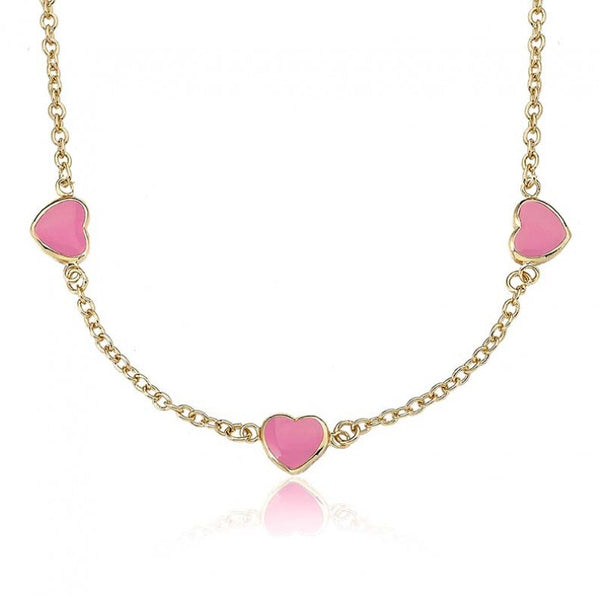 I LOVE MY JEWELS Pink Triple Heart Necklace