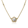 Mother Of Pearl Flower On Diamond By The Yard Chain Necklace
