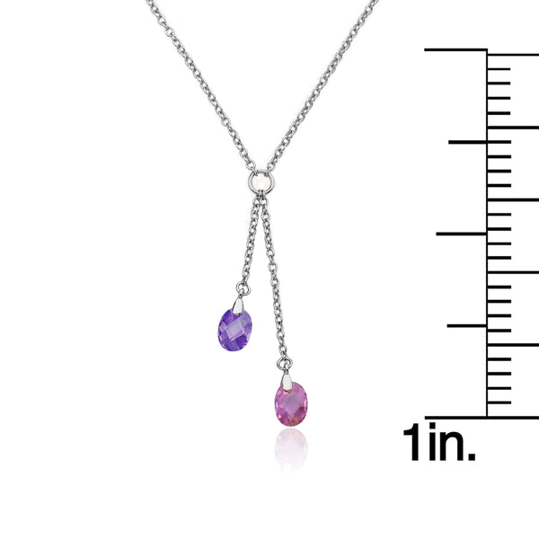 CLASSIC Rhodium Crystal Lariat Necklace