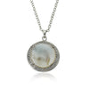 Retro Mother Of Pearl Circle Medallion Pendant Necklace