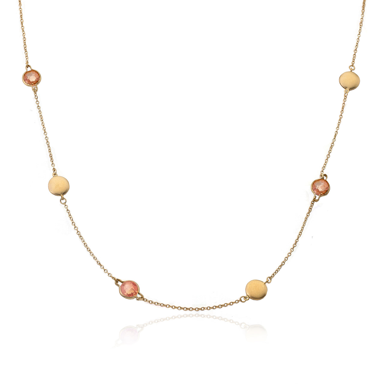 "Arctic Mist 14K Gold Plated Circles & Champagne Discs On 36"" Chain Necklace"