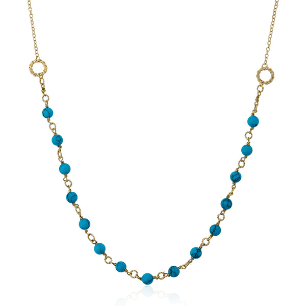 Country Chic Turquoise Chain Necklace