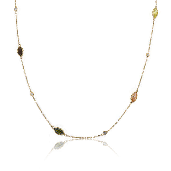 "Arctic Mist 14K Gold Plated  Teardrop Stones On 36"" Chain Necklace"