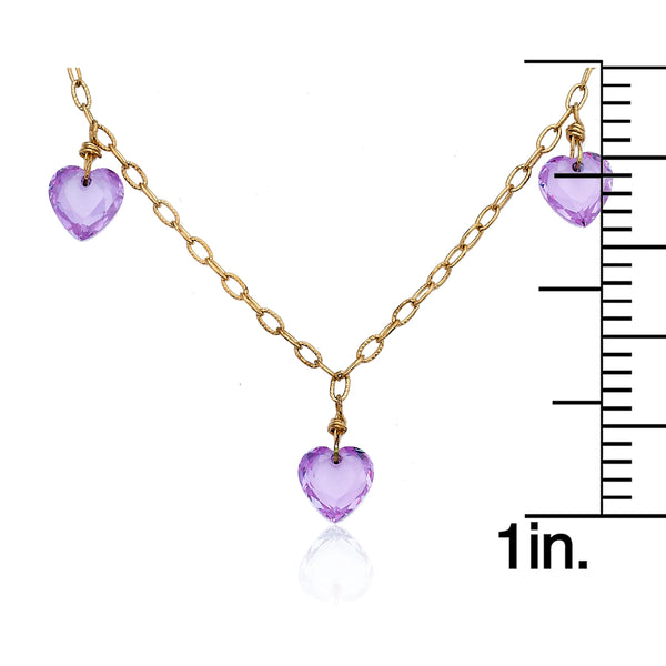 LITTLE MISS FLOWER GIRL Lavender Triple Faceted Heart Link Necklace