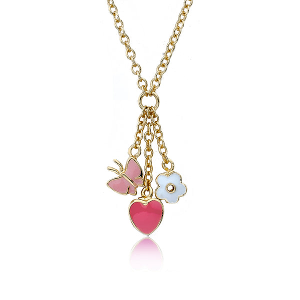Charming Treats Flower Heart & Butterfly Cluster Chain Necklace