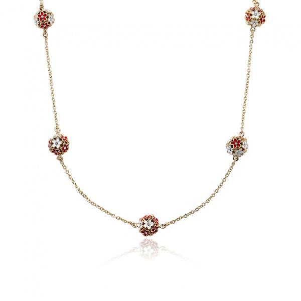 FROSTED FLOWERS Red Flower Balls Necklace
