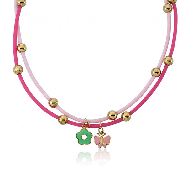 JEWEL BANDZ Pink Double Rubber Charm Necklace