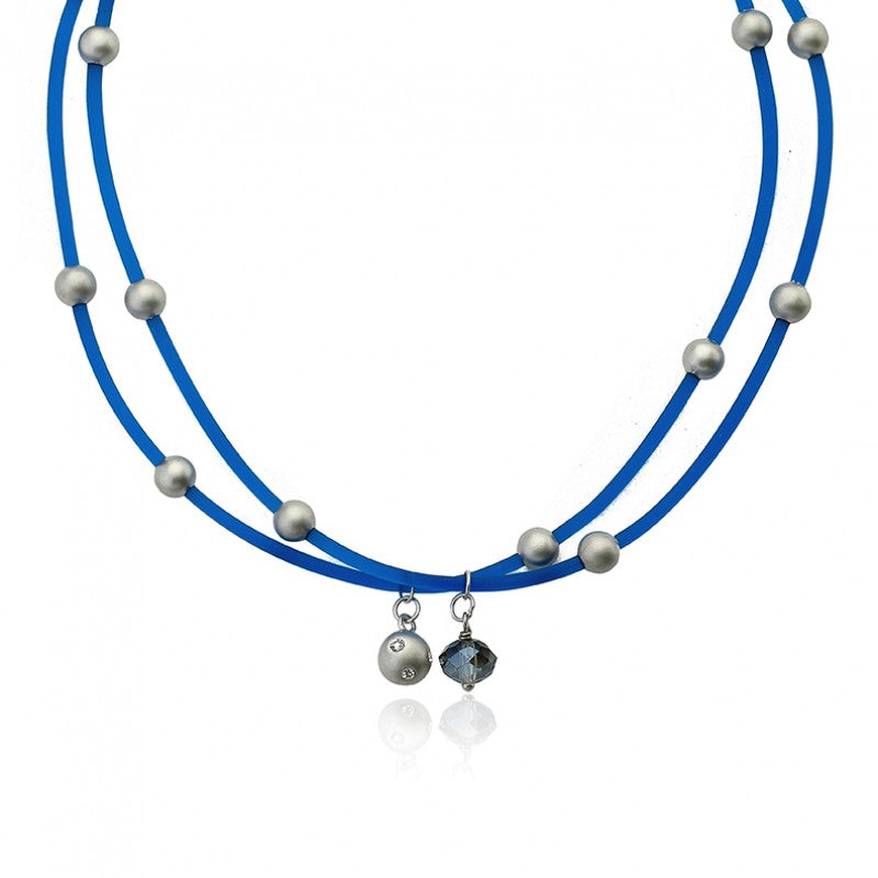 JEWEL BANDZ Blue Two Strand Rubber Necklace