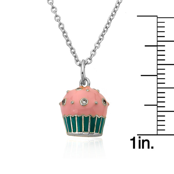 CANDYLAND Rhodium Strawberry Cupcake Pendant Necklace