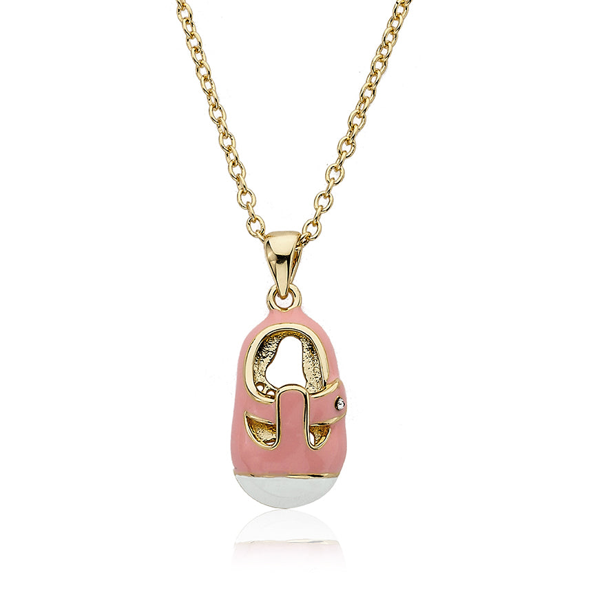SHOEBSESSED Pink & White T-Strap Baby Shoe Necklace