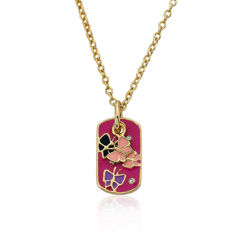 IDENTITY CRISIS Butterflies Dog Tag Necklace