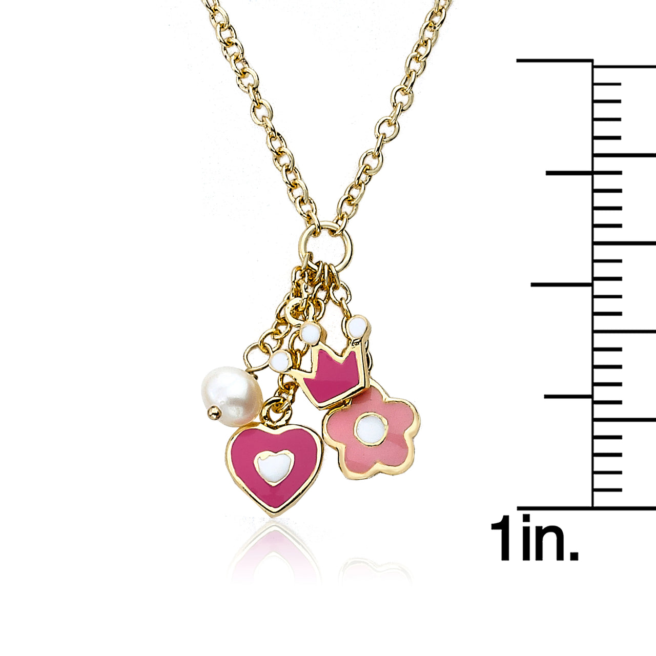 Charming Treats Heart Flower And Crown Cluster Chain Necklace