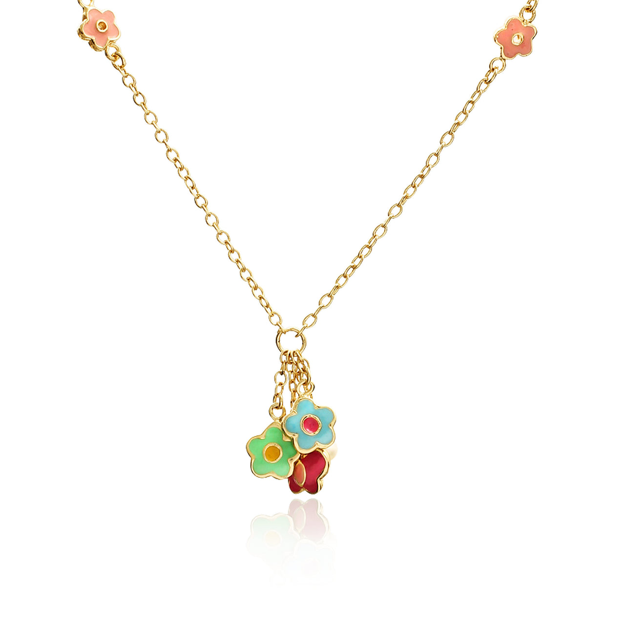 Charming Treats Butterfly And Flower Cluster Chain Necklace