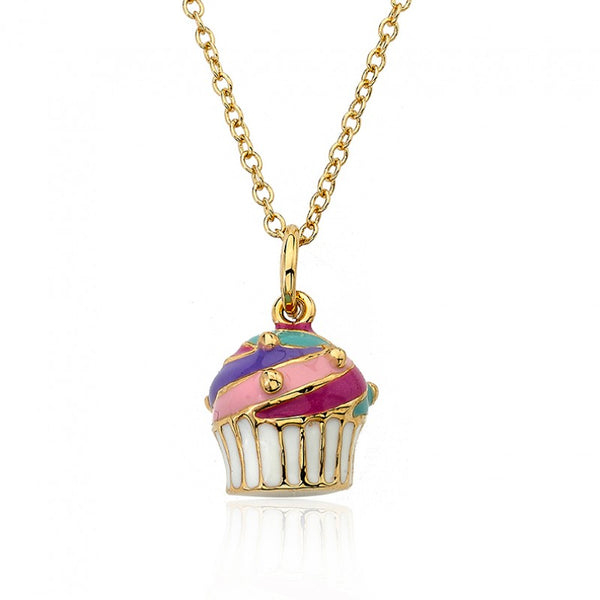 CANDYLAND Multi Swirl Cupcake Pendant Necklace