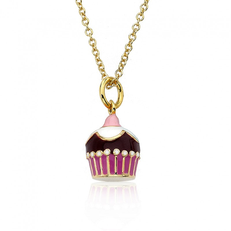 CANDYLAND Chocolate Flowered Topped Cupcake Pendant Necklace