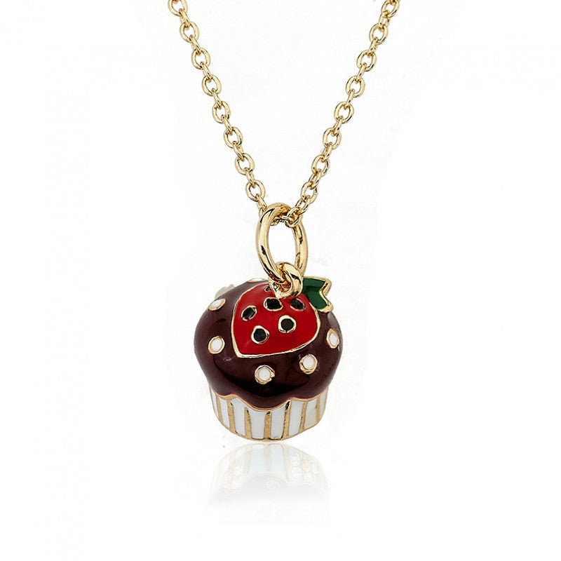 CANDYLAND Strawberry Topped Cupcake Pendant Necklace