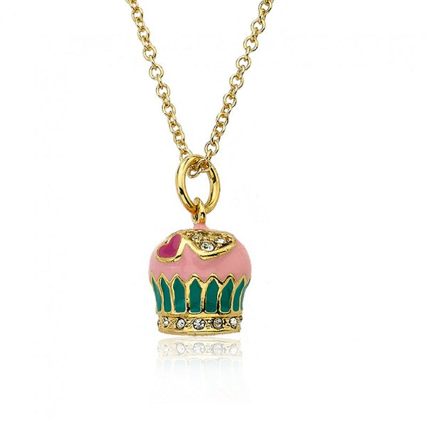 CANDYLAND Strawberry Frosted Crystal Heart Cupcake Pendant Necklace