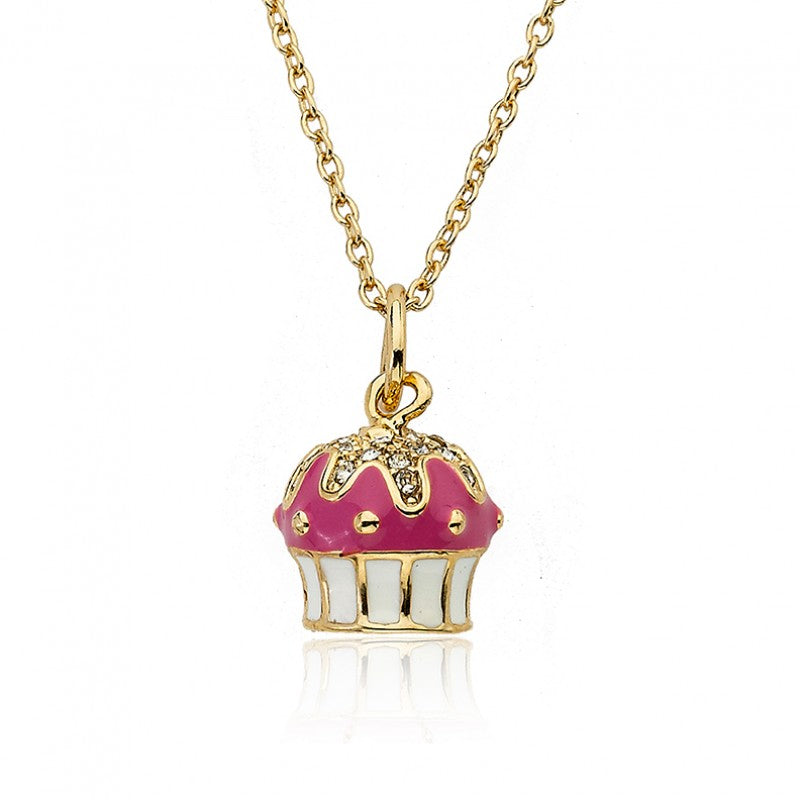 CANDYLAND Crystal Flower Cupcake Pendant Necklace