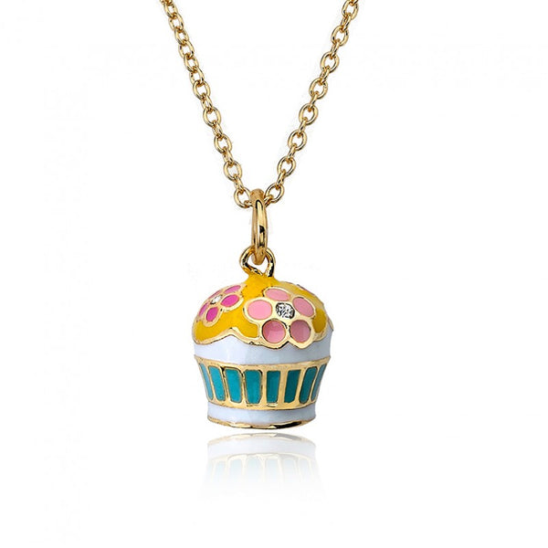 CANDYLAND Flower Adorned Cupcake Pendant Necklace