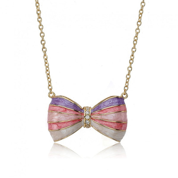 BOW BEAUTIFUL Enamel Coral Striped Bow Necklace