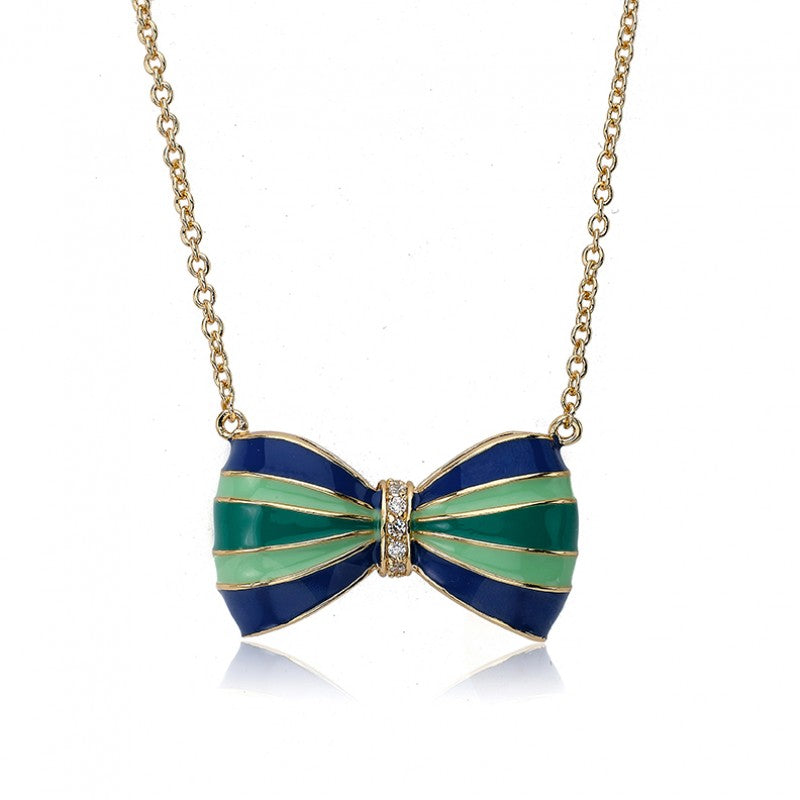 BOW BEAUTIFUL Enamel Turquoise Striped Bow Necklace