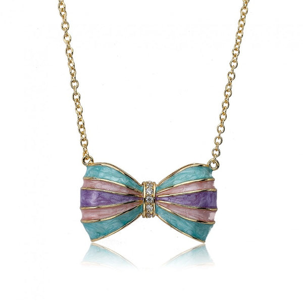 BOW BEAUTIFUL Enamel Aqua Striped Bow Necklace