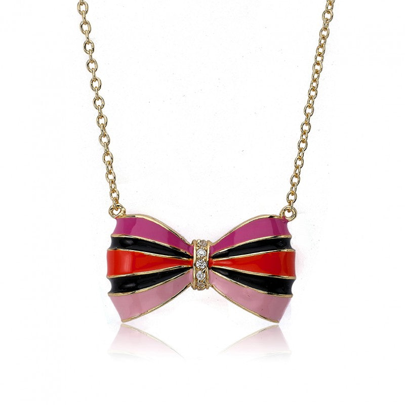 BOW BEAUTIFUL Enamel Hot Pink Striped Bow Necklace