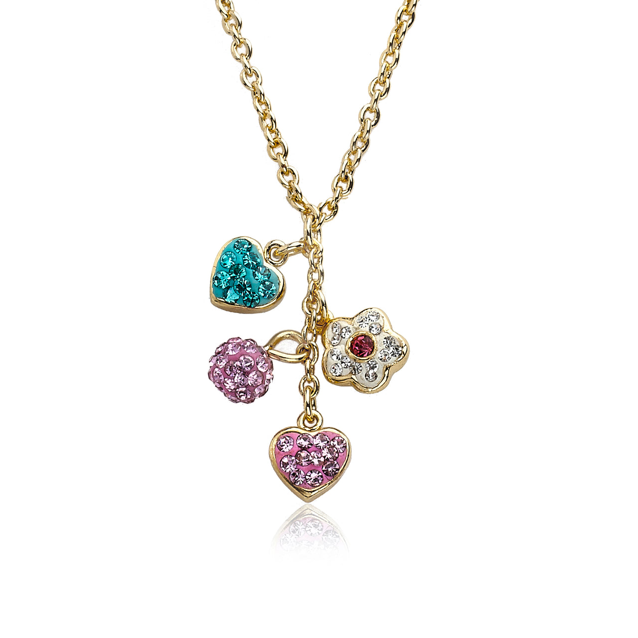 Heart Of Jewels Crystal Heart, Flower & Ball Shape Key Chain Necklace